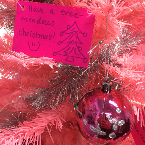 Messages from #TeamMara adorned our Christmas tree.